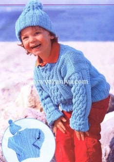 Детский комплект: пуловер с косами и шапочка