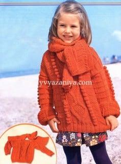 Детский пуловер и шарфик сочетанием узоров