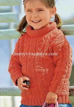 Детский пуловер с узором из кос