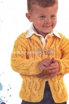 Детский жакет с косами и жемчужным узором