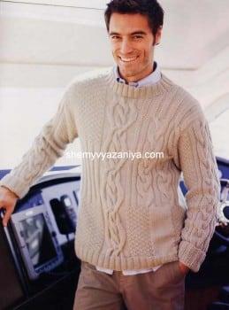 Мужской пуловер фантазийным узором