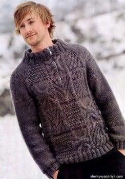 Пуловер для мужчин с рельефным узором