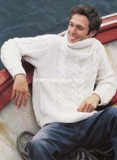 Мужской свитер с узором коса