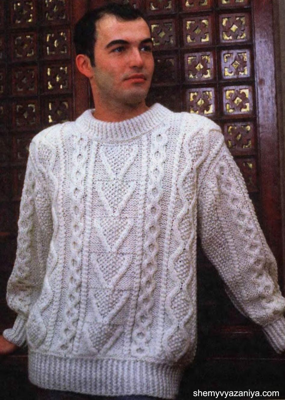 Вязание спицами мужской пуловер схема фото 583