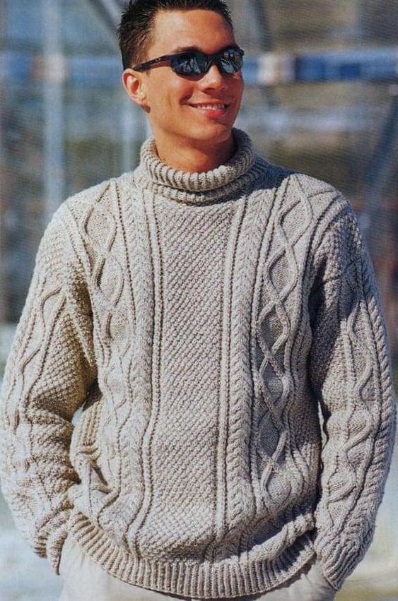 мужской свитер узором длинный рис схемы вязания