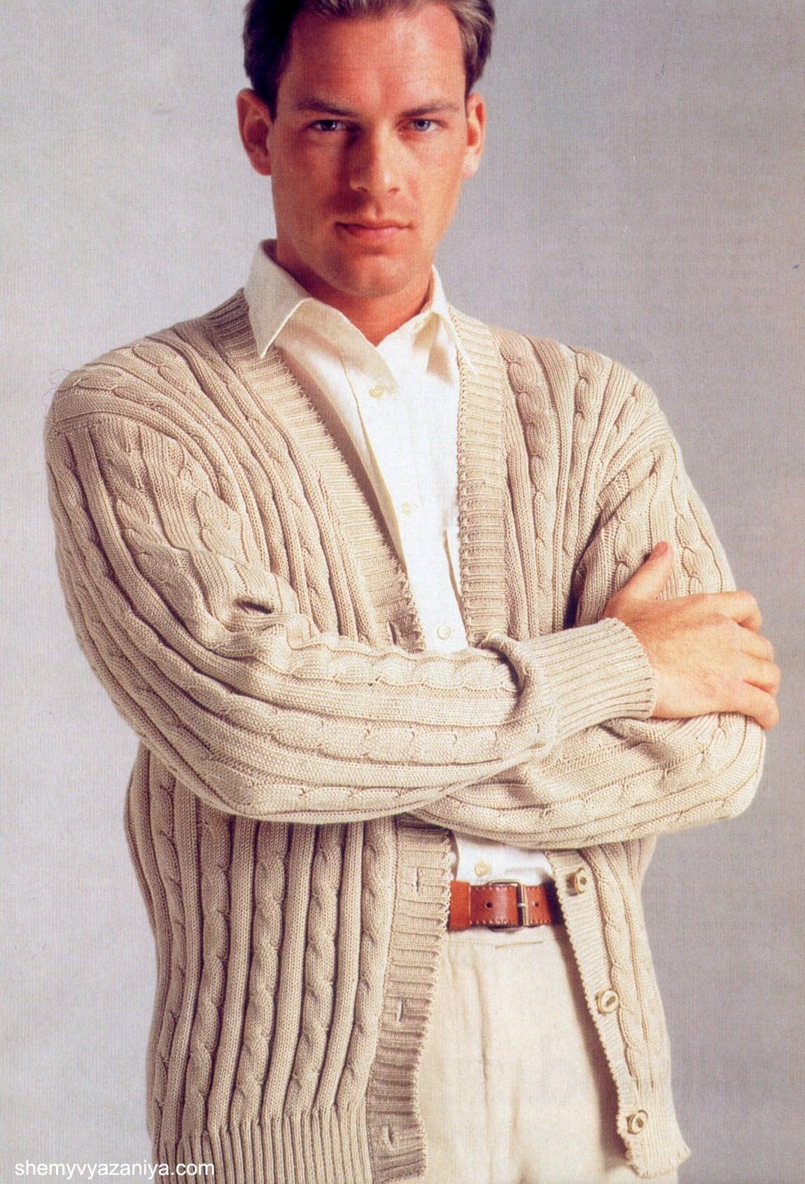 Мужской пуловер спицами и шарф описание вязания, схемы вязания.
