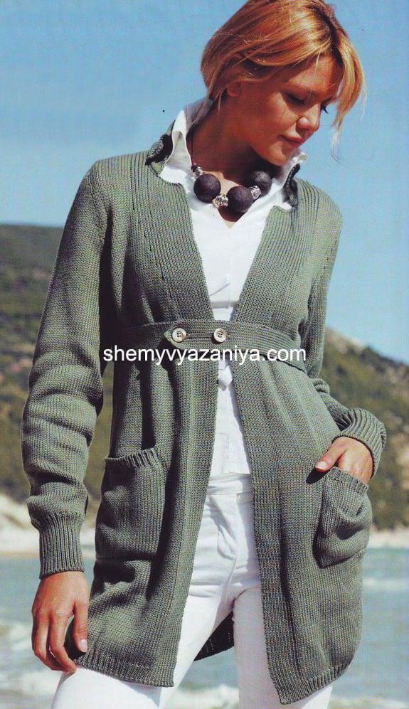 кардиган модный силуэт схемы вязания