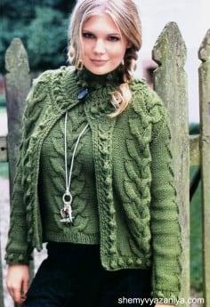Комплект с веерообразным узором - жакет и пуловер