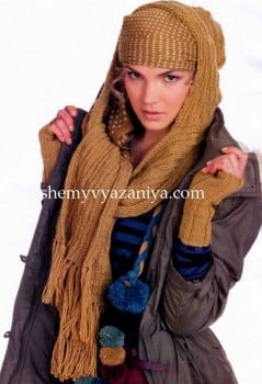 Комплект: шарф с капюшоном и митенки