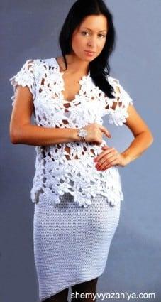 Туника филейным ажурным узором и узкая ассимметричная юбка