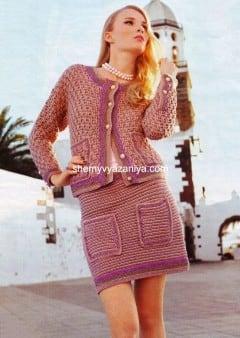 Костюм (жакет и юбка) рельефной вязкой