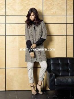 Короткое пальто с узором из кос