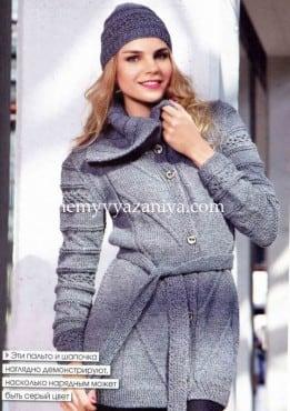Пальто с широким воротником и шапочка
