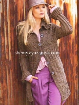 Короткое пальто с рельефными узорами