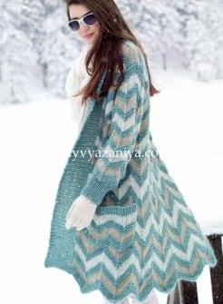 Пальто зигзагообразным узором