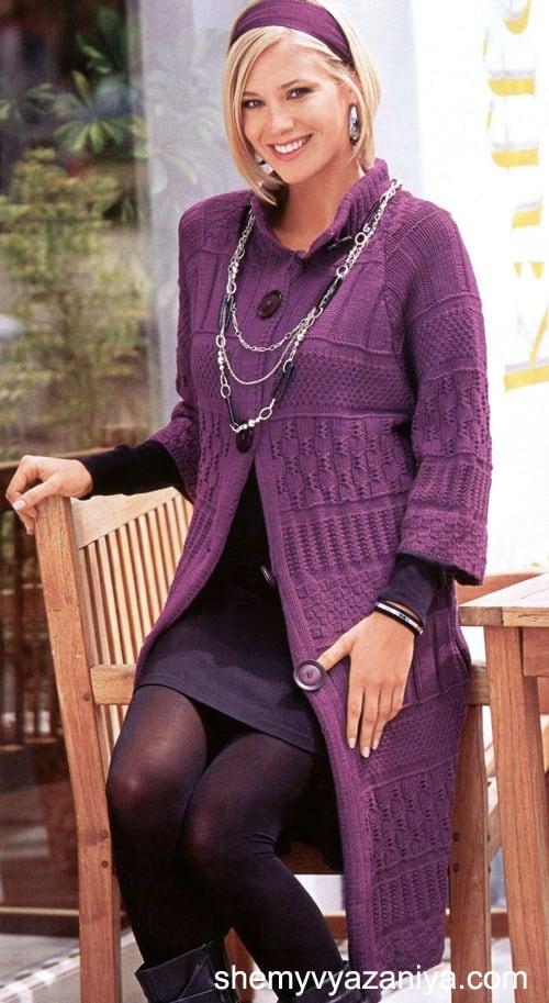 узорчатое пальто спицами схемы вязания