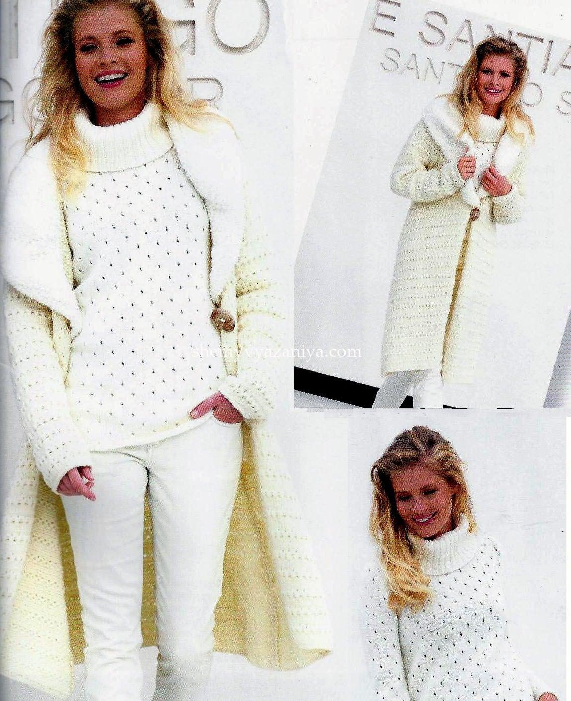 пальто схемы вязания