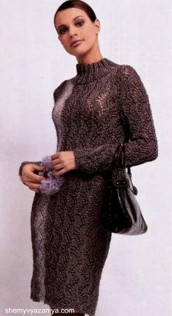 Платье ажурным узором с брошкой
