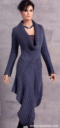 Платье узором со спущенными петлями