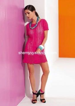 Мини-платье ажурным узором
