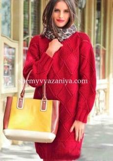 Красное платье с ромбами