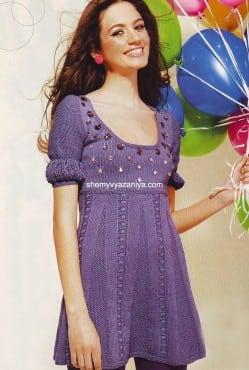 Платье цвета лаванды со стразами