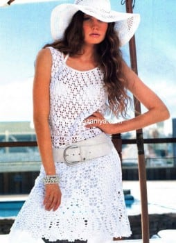 Связанное крючком белое платье