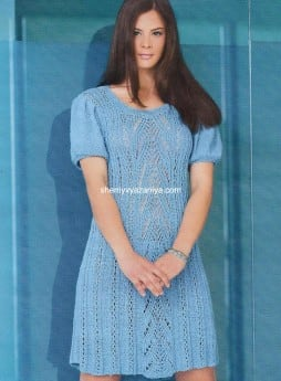 Ажурное платье со складками на рукавах