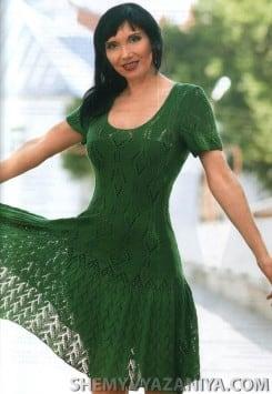 Зеленое платье с ажурной каймой