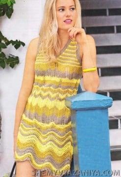 Полосатое платье волнистым узором