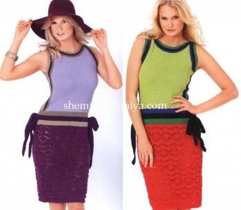 Платье с ажурной юбкой в двух цветовых вариантах