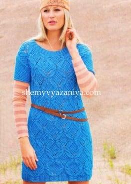 Мини-платье узором ромбы из кос
