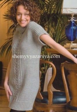 Мини-платье с узором шишечки