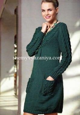 Платье с рельефными косами