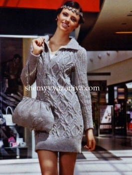 Платье ромбами из кос и сумка