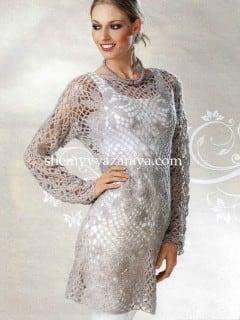 Платье из ажурных квадратов