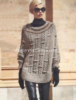 Пончо-пуловер выпуклым узором