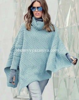 Пончо-пуловер узором ромбы с косами