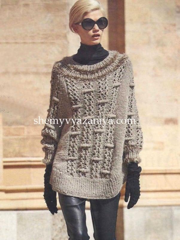 пончо пуловер выпуклым узором схемы вязания