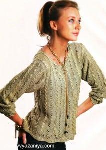 Пуловер узором из кос и мережек