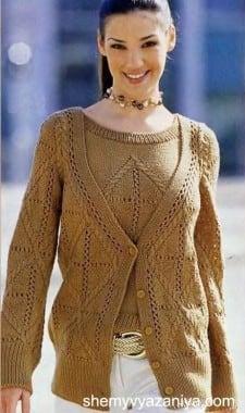 Двойка (пуловер и жакет), связанная ажурным узором с косами