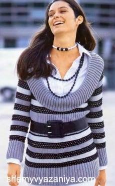 Полосатый пуловер с широким воротником