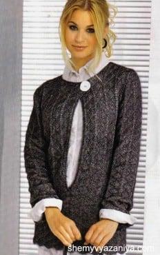 Серебристо-черный меланжевый пуловер с глубоким вырезом