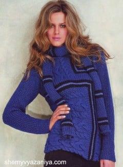 Пуловер рельефным узором и шарф