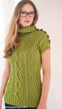 Удлиненный пуловер с застежкой на плече