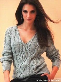 Пуловер с косами и жемчужным узором