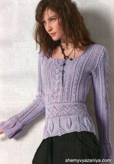 Пуловер ажурным узором и узором с листьями