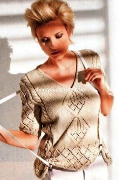 Пуловер с V-образным вырезом с узором ромбы