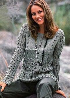 Ажурный пуловер с узорами из листьев