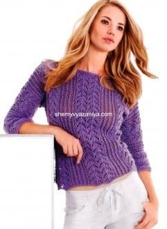 Пуловер с ажурным и с сетчатым узорами